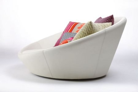 Poltrona design girevole pelle e tessuto, modello Next | Gobbo Salotti