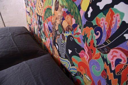 Letto con contenitore design moderno tessuto, modello Paradiso | Gobbo Salotti