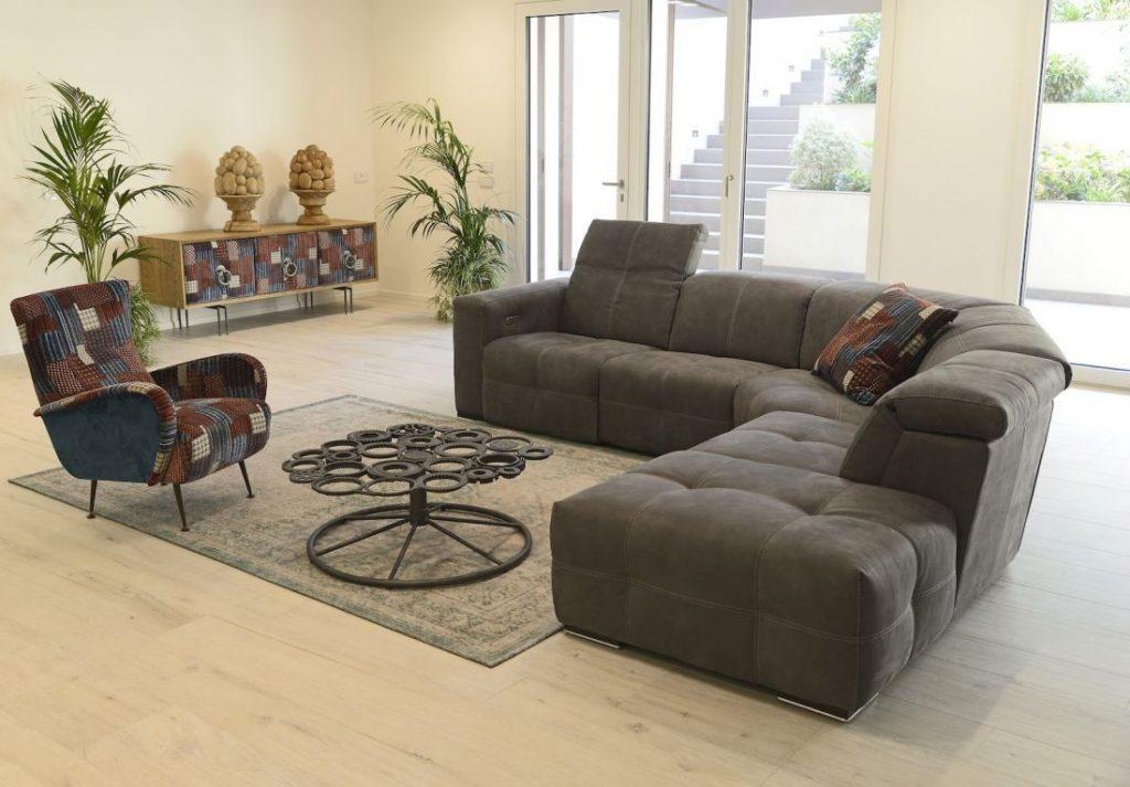 Divano moderno angolare con poggiatesta reclinabile con relax lineare pelle e tessuto, modello Sam | Gobbo Salotti