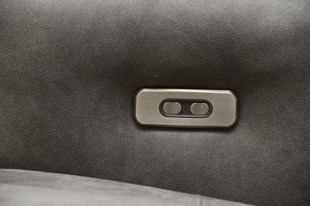 Divano moderno angolare lineare con relax con poggiatesta reclinabile pelle e tessuto, modello Sam | Gobbo Salotti