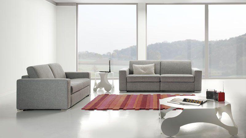 Divano moderno angolare lineare divano letto con relax con sedute scorrevoli pelle e tessuto, modello Split | Gobbo Salotti