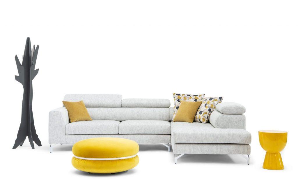 Divano design moderno angolare con poggiatesta reclinabile con sedute scorrevoli lineare pelle e tessuto, modello River | Gobbo Salotti