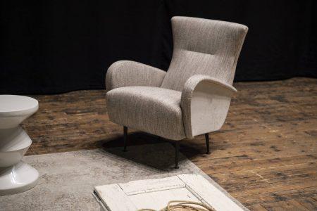 Poltrona moderno vintage pelle e tessuto, modello Francis | Gobbo Salotti
