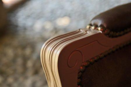 Poltrona vintage classico pelle e tessuto, modello Naxos   Gobbo Salotti