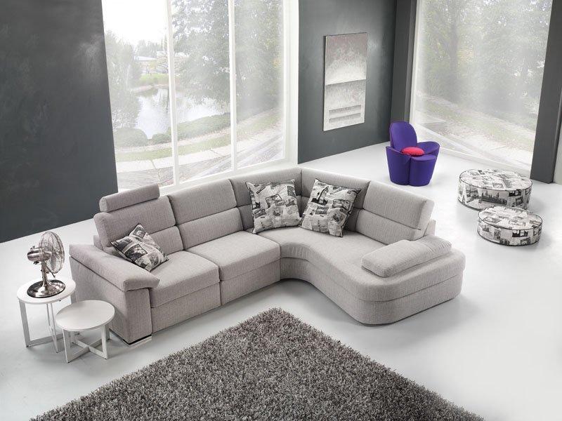 Divano moderno angolare lineare divano letto con relax con sedute scorrevoli pelle e tessuto, modello Ginger | Gobbo Salotti