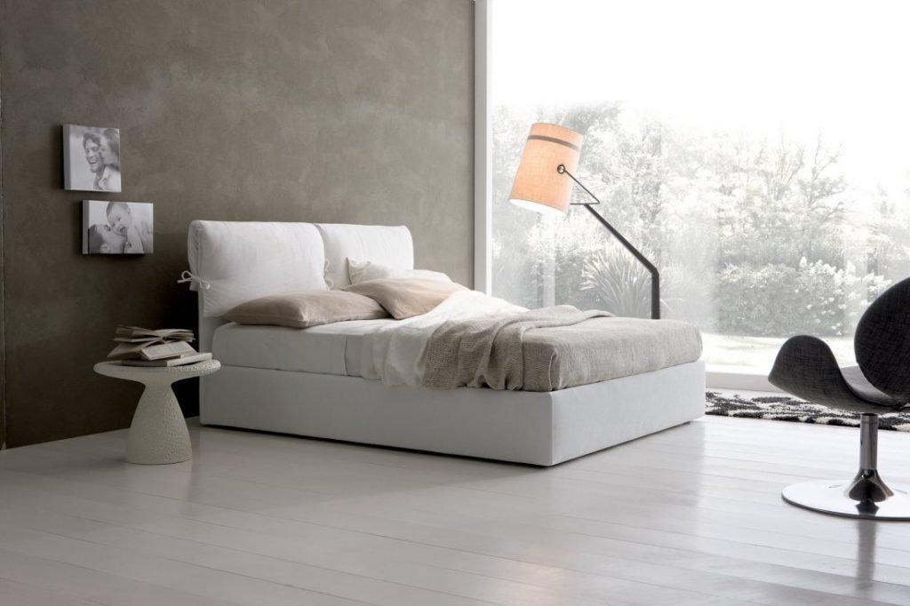 Letto con contenitore vintage classico tessuto, modello Ambra | Gobbo Salotti