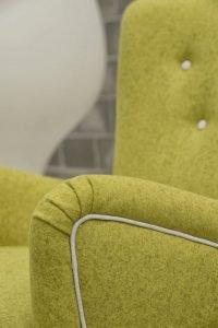 Poltrona design vintage pelle e tessuto, modello Possiedi | Gobbo Salotti