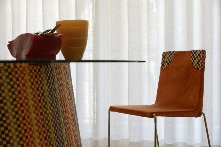 Sedia moderno pelle e tessuto, modello Imelda | Gobbo Salotti