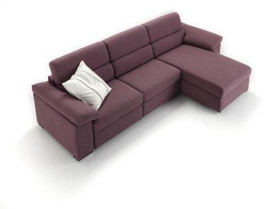 Divano moderno angolare lineare divano letto con relax con sedute scorrevoli pelle e tessuto, modello Ginger   Gobbo Salotti