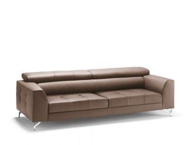 Divano design moderno angolare lineare con poggiatesta reclinabile con sedute scorrevoli pelle e tessuto, modello River   Gobbo Salotti