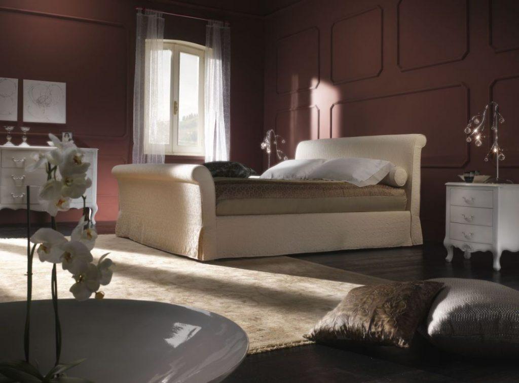 Letto con contenitore vintage classico tessuto, modello Susanna | Gobbo Salotti