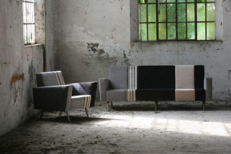 Divano design moderno lineare pelle e tessuto, modello Max 2 | Gobbo Salotti