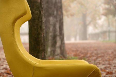 Poltrona moderno girevole pelle e tessuto, modello Spirit | Gobbo Salotti