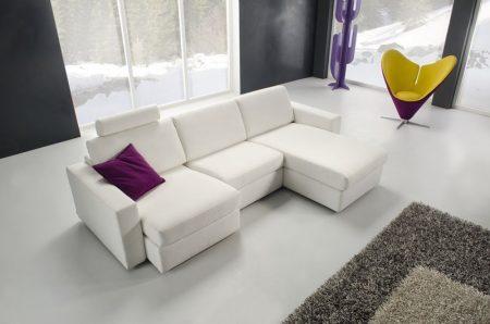 Divano moderno angolare lineare divano letto con relax con sedute scorrevoli pelle e tessuto, modello Split   Gobbo Salotti