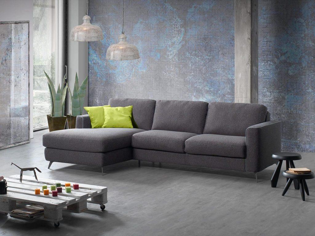 Divano moderno angolare lineare divano letto tessuto, modello Ecuador | Gobbo Salotti