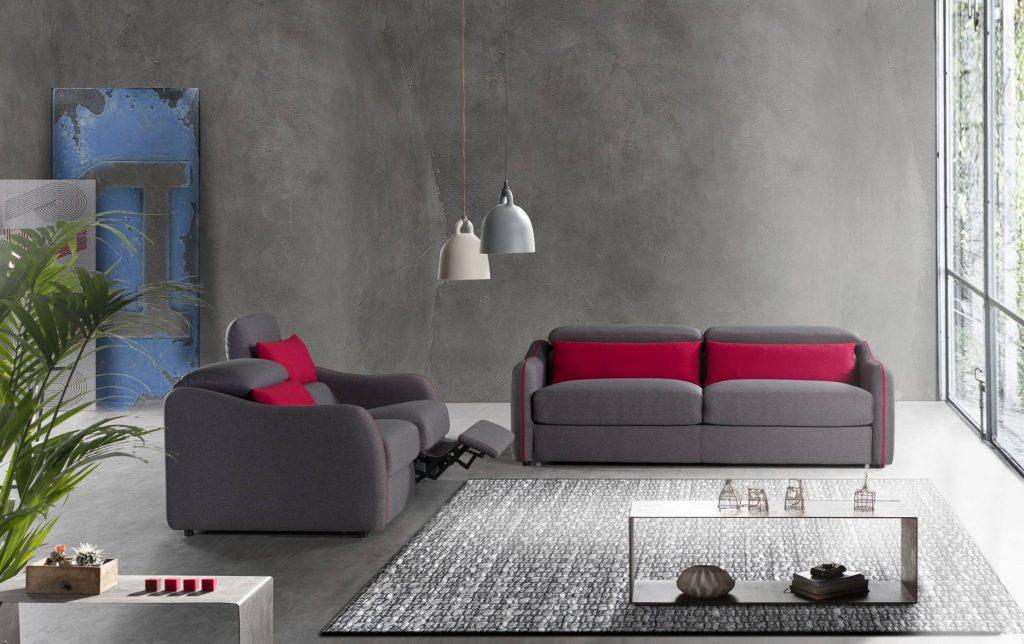Divano moderno divano letto con relax con poggiatesta reclinabile tessuto, modello Vivaldi | Gobbo Salotti