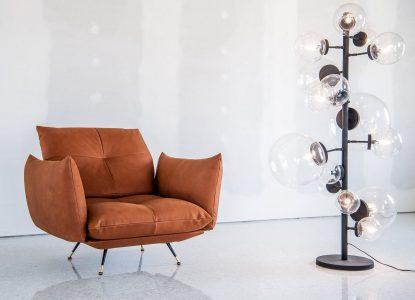 Poltrona design moderno vintage pelle e tessuto, modello Anita | Gobbo Salotti