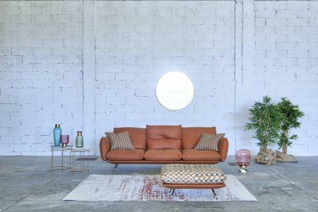 Divano design moderno a moduli componibili con penisola tessuto, modello Pasha | Gobbo Salotti
