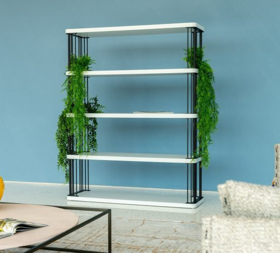 Libreria in metallo e ripiani in legno laccato opaco - Gobbo Salotti