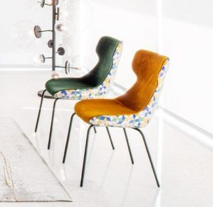Sedia design moderno pelle e tessuto, modello Trip | Gobbo Salotti