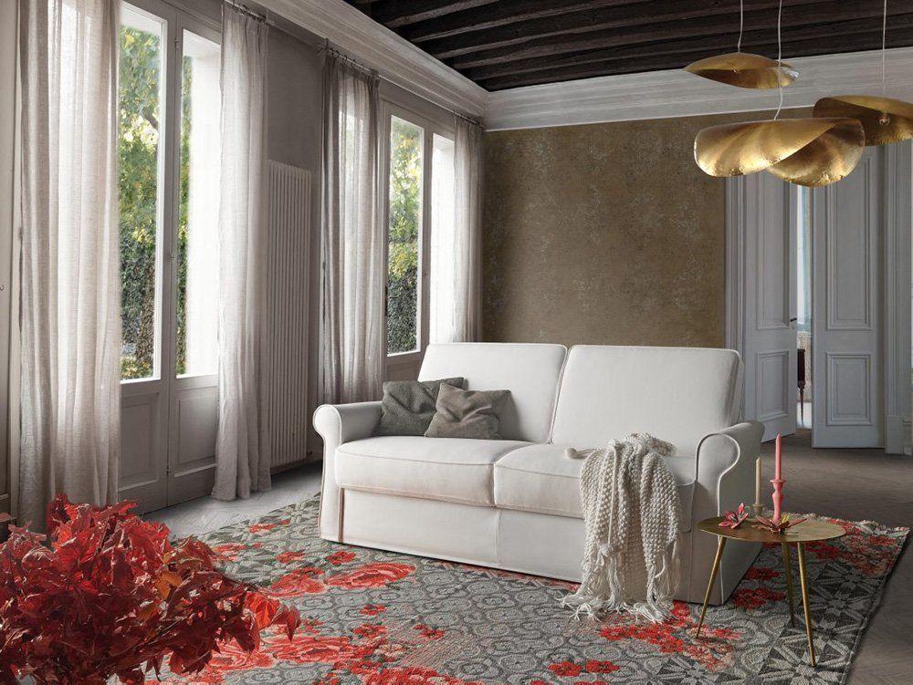 Divano classico lineare divano letto tessuto, modello Charlotte | Gobbo Salotti