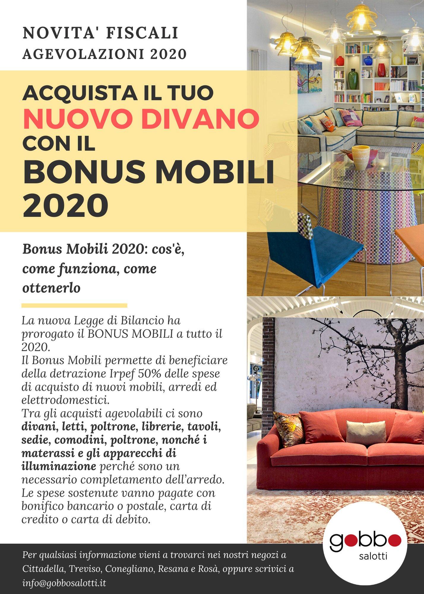 Gobbo Salotti BONUS MOBILI 2020 Detrazioni fiscali bonus casa