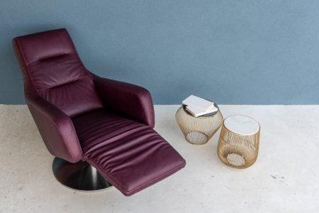 Poltrona moderno relax girevole pelle e tessuto, modello Norma | Gobbo Salotti