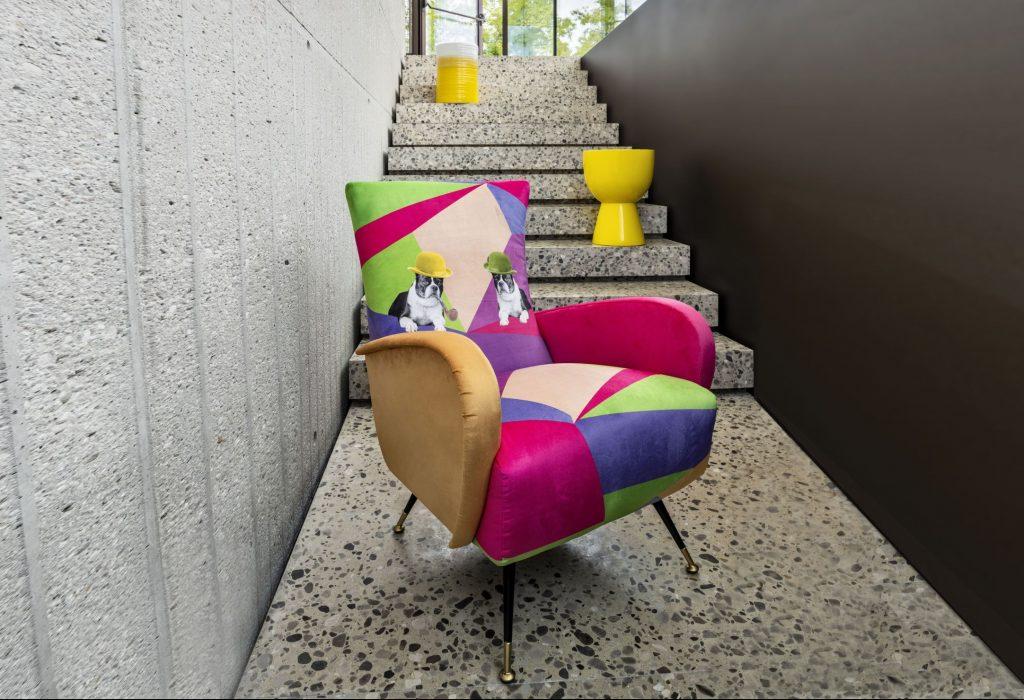 Poltrona design edizione limitata tessuto, modello Francis by Alessandro Corina   Gobbo Salotti
